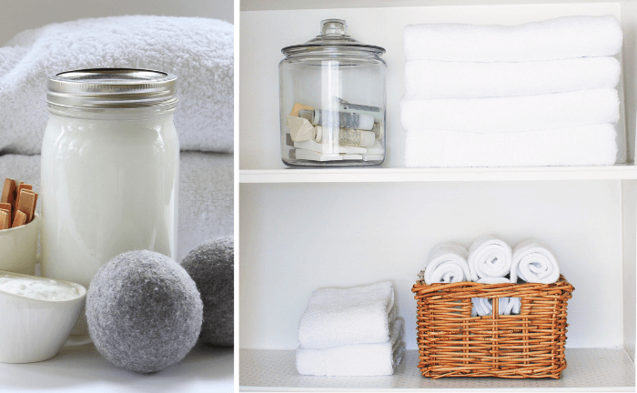 images of natural cleaning products for laundry and clean, fluffy white towels