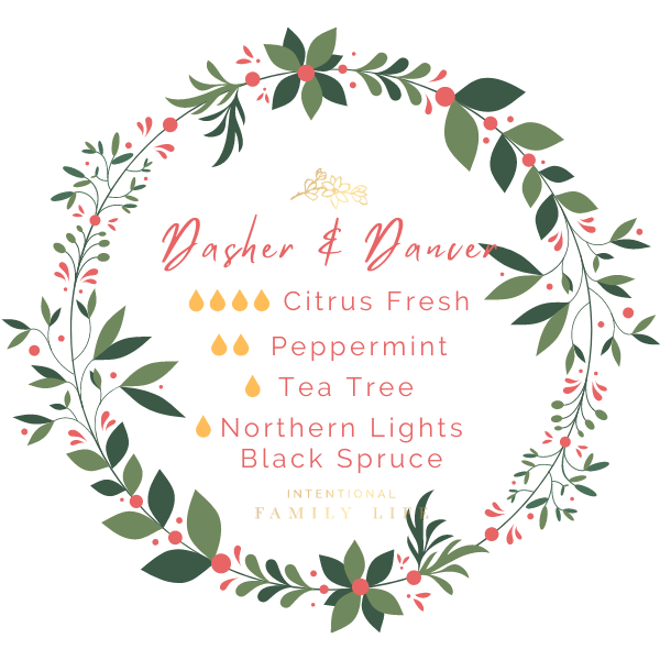 """Image of Christmas essential oil recipe for """"Dasher & Dancer"""" blend by Young Living. 4 drops Citrus Fresh / 2 drops Peppermint / 1 drop Tea Tree / 1 drop Northern Lights Black Spruce"""