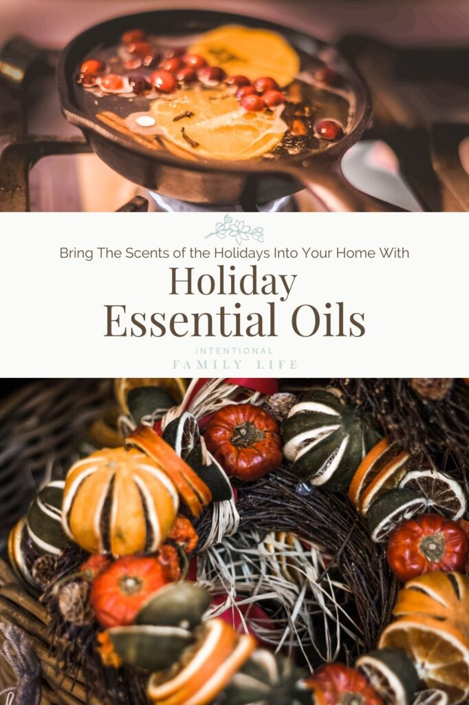 Images of holiday decorations, sweets, dried fruits, and spices - displaying the scents of Christmas essential oils