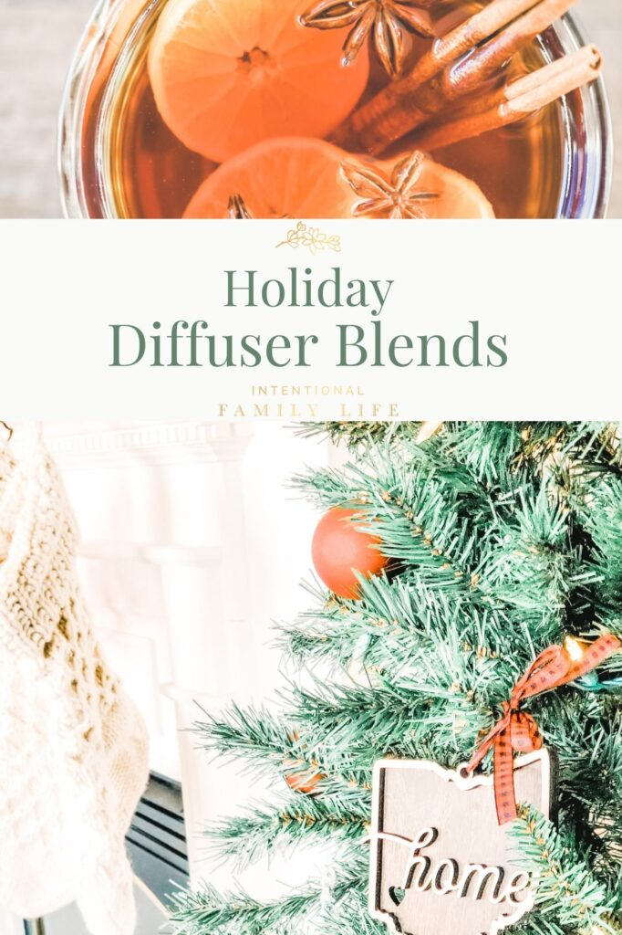 Images of holiday lights and decorations - focusing on a gingerbread man, pine boughs, fresh oranges, cinnamon sticks, and cloves - displaying the scents of Christmas essential oils