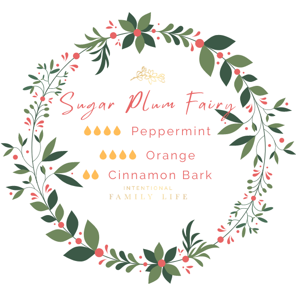 """Image of Christmas essential oil recipe for """"Sugar Plum Fairy"""" blend by Young Living. 4 drops Peppermint / 4 drops Orange / 2 drops Cinnamon Bark"""